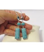 Beautiful Fashion jewelry Silvertone Turquoise & Blue Topaz Dangle earrings - $15.00