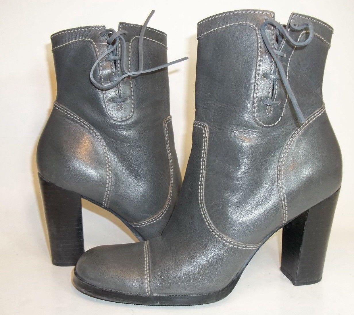 Nine West Bredeo Womens US7M Grey Leather Hi Heels Zip Up Cap Toe Booties VGUC