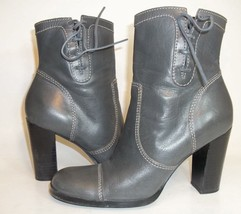 Nine West Bredeo Womens US7M Grey Leather Hi Heels Zip Up Cap Toe Bootie... - $46.52