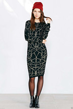 Numph Evelyn Sweater Dress Black with Gold Sold Out msrp $110 Size Small... - £34.99 GBP