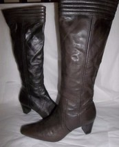 COLE HAAN 8.5 $298 TALL JANNA BOOTS Knee High Brown Soft Nappa LEATHER H... - $37.17