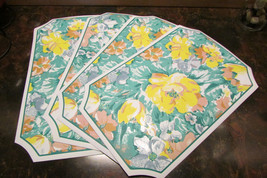 """PLACEMATS, 4 one-sided yellow/green floral pattern 17.5 x 11.25"""" - $14.03"""