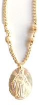 Miraculous Medal necklace Virgen de la Milagrosa gold Virgin Mary pendant  - €29,33 EUR