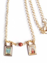 Catholic Scapular Necklace Gold plated Sacred H... - $34.90