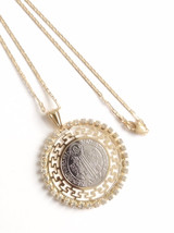 Rhinestones St. Benedict Medal Necklace, Flat Gold Plated Chain, San Benito - $37.80