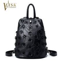 Womens Backpacks Genuine Leather Bags Design Backpack with Flower Fashio... - $71.20