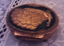 Vintage Gold Enameled PEACOCK Trinket Box // Ring/Jewelry Box - $13.75