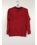 us polo assn Long Sleeve Henley Two Button, Red, Youth 10-12, New Withou... - $9.74