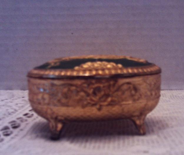 Vintage Gold Enameled PEACOCK Trinket Box // Ring/Jewelry Box