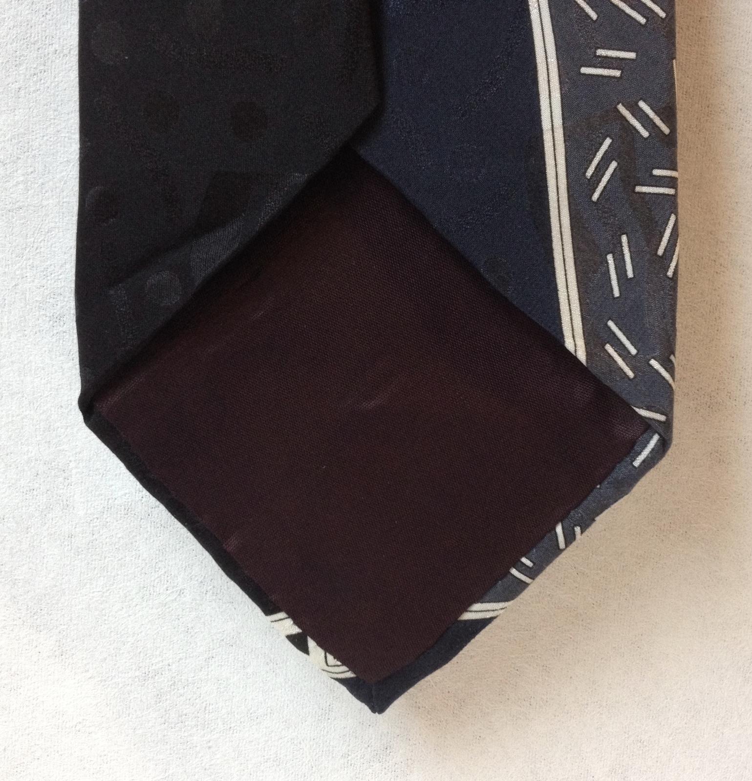 Marina Di Carrara Black Navy Blue Gray Neck Tie 100% Silk Geometric Modern Lines