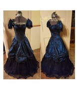 victorian belle civil war gown style in 80's Angelo dress Teal blue Blac... - $155.00