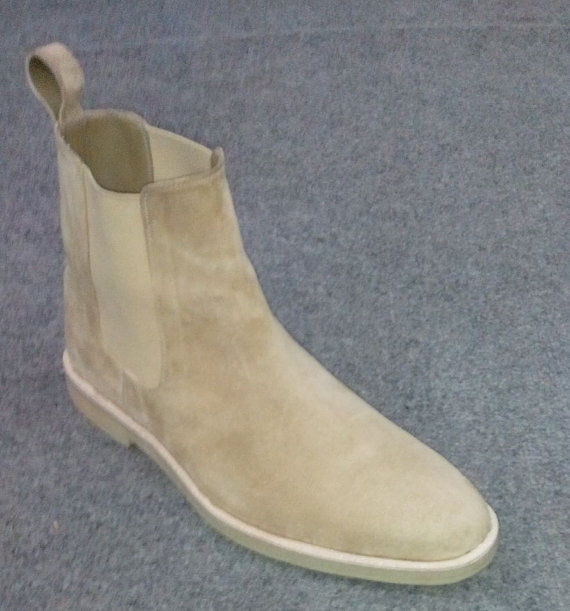 bd271488ab89 Handmade mens chelsea beige color suede leather boots
