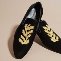 Handmade Mens Velvet Shoes, Handmade Men Embroidered Velvet casual Shoes... - $130.15 CAD