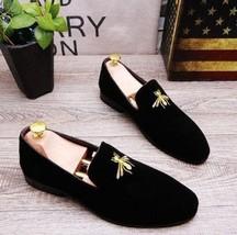 Handmade Black Velvet Shoes,Handmade Men Embroidered Velvet casual Shoes... - $130.15 CAD