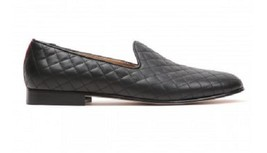 NEWHANDMADE MEN'S BLACK NAPPA LEATHER QUILTED SLIPPER MEN SHOES - $247.28 CAD