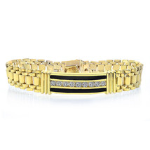1.50 Carat Mens Diamond Onyx Bracelet 14K Yellow Gold - $3,464.01