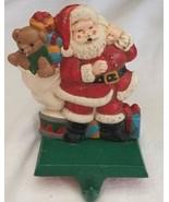 Vintage Cast Iron Stocking Hanger Holder Hook Santa & Toys Presents Midwest - $19.79
