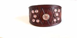 Pink Diamond Leather Cuff Bracelet with diamond carving design, womens c... - $35.00