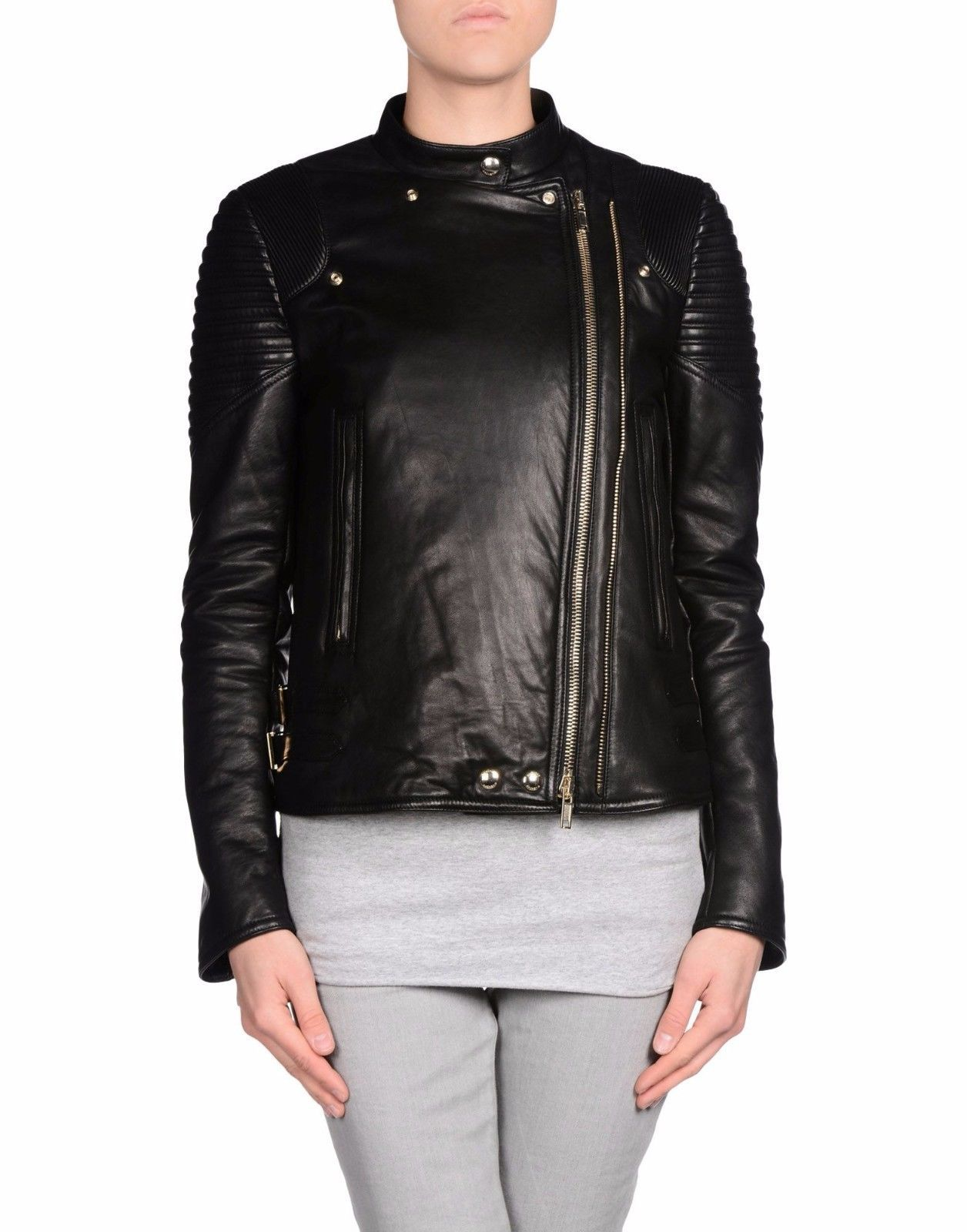 Winter Women Leather Motorcycle Women Genuine Leather Jacket Biker Jacket HL-160