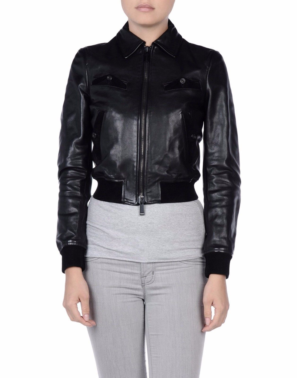 Winter Women Leather Motorcycle Women Genuine Leather Jacket Biker Jacket HL-162