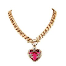 Blood Red Heart Bracelet Gold Colored Fashion Chain - $11.95