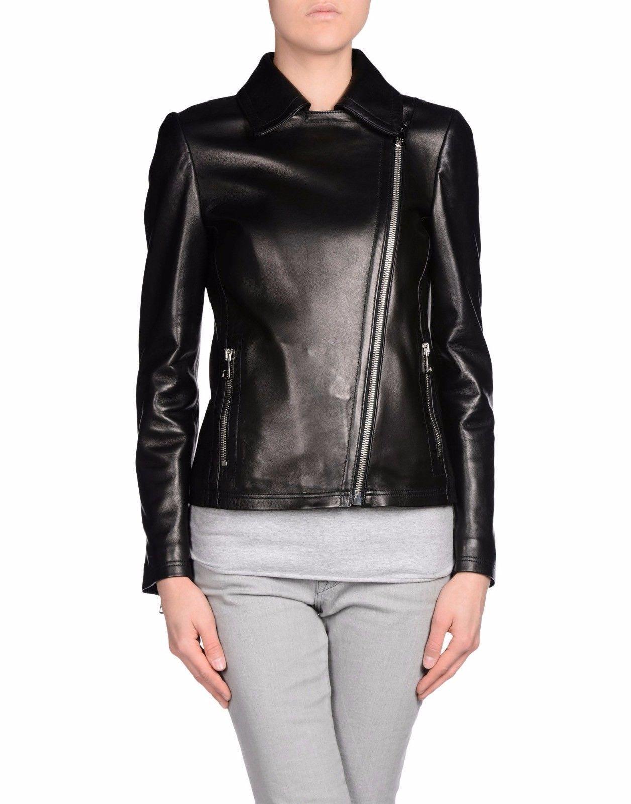 Winter Women Leather Motorcycle Women Genuine Leather Jacket Biker Jacket HL-164