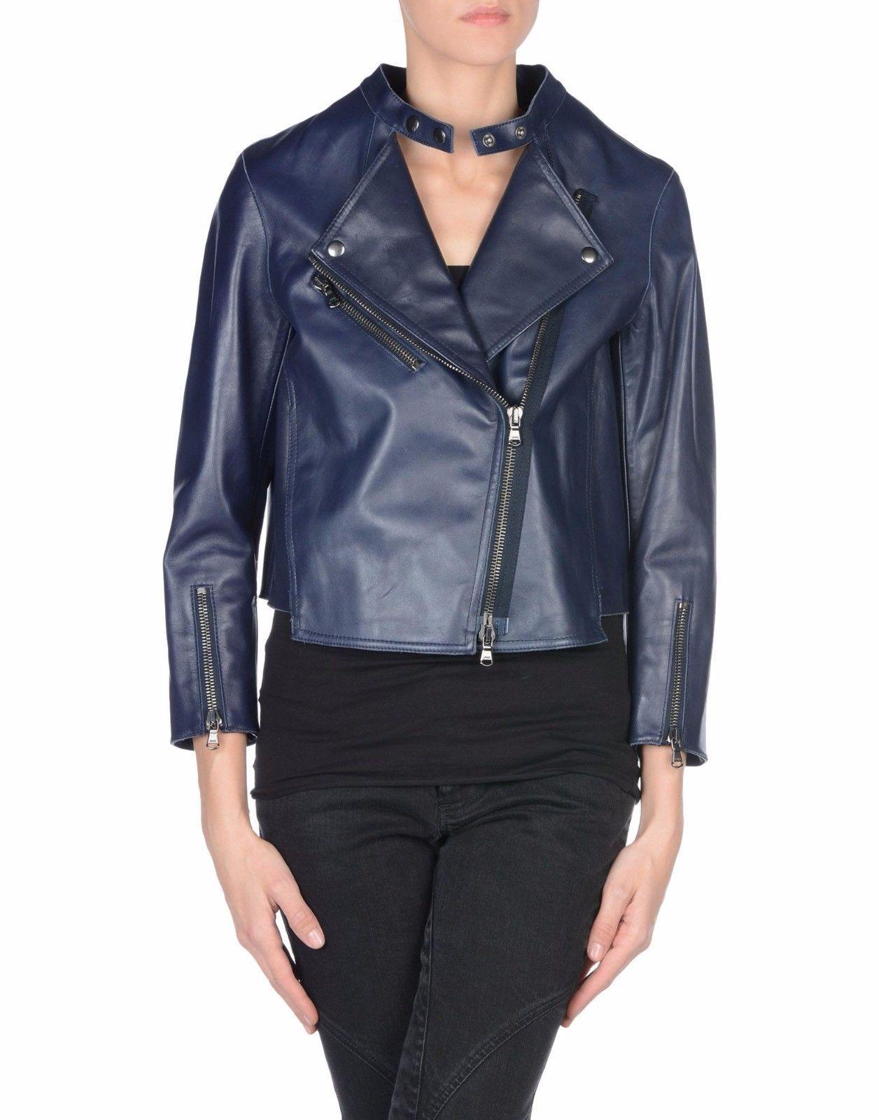 Winter Women Leather Motorcycle Women Genuine Leather Jacket Biker Jacket HL-166