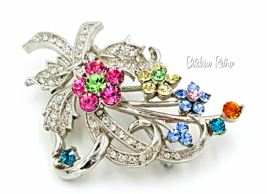 Rhinestone Flower Brooch Retro Pink and Blue Floral Pin - $19.00