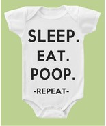 REPEAT EAT,SLEEP,POOP FUNNY ONESIE T-SHIRT ONE-PIECES BABY SHOWER GIFT M... - $14.95