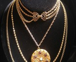GOLDETTE Victorian Revival Multi-Strand GoldTone Necklace with Locket - signed