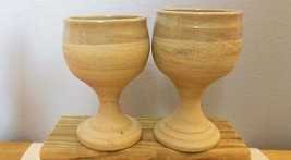 """Set of 2 Hand Thrown Pottery Goblets 5"""" Glazed on Rim and Inside - $23.00"""