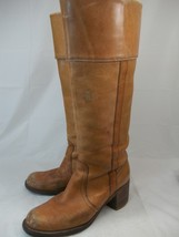 Vintage Frye Women's US 8 N Tan Tall Knee-High Campus cuff stacked Black... - $97.97
