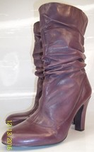 Nine West Nodin Womens US 7 M Purple Leather Ankle Heeled Slouchy Bootie... - $32.49
