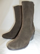 COLE HAAN Womens US6.5B Olive Green Suede Wedge Heel Pull on Ankle Boots... - $55.87