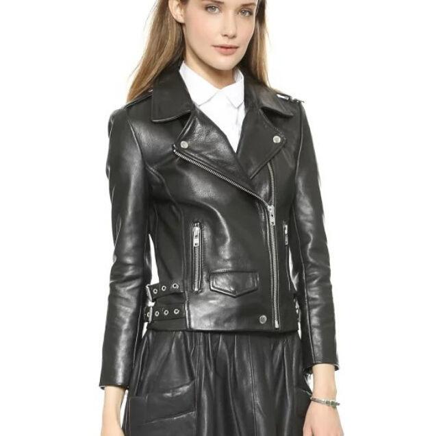 Winter Women Leather Motorcycle Women Genuine Leather Jacket Biker Jacket HL-181