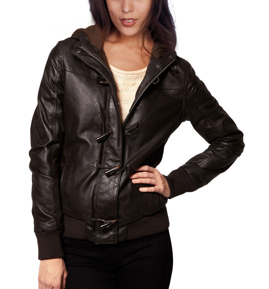 Winter Women Leather Motorcycle Women Genuine Leather Jacket Biker Jacket HL-182