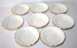 BUFFALO CHINA POTTERY Small Gold Trim Dessert Bowls Set of 8 #1124 - $60.00
