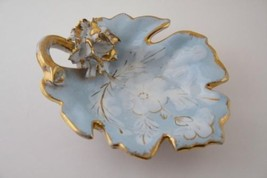 ITALY Vintage Numbered Light Blue & Gold Leaf Dish  #497 - $50.00