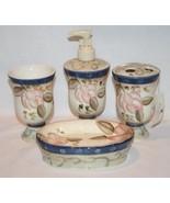 Home Interiors Lotus Blossom 4 Piece Bathroom Accessory Set Never Used  ... - $50.00