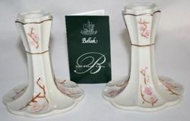 BELLEEK IRELAND 2001 Hand Crafted -Thorn- Candlesticks Set/2 NIB #928 - $50.00