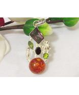 Beautiful jewelry silvertone Amber, Amethyst & Peridot Quartz pendant - $17.00