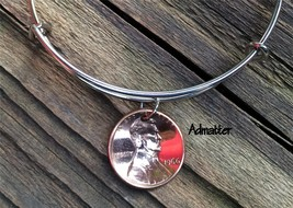 1945 Lucky Copper Penny Silver Wire Bangle Charm Bracelet 72nd Birthday Gift Box - $15.99