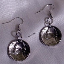 1947 Jefferson Nickel Earrings Domed Coin Jewelry 70th Birthday Anniversary Gift - $12.59