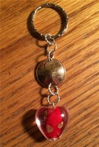 1961 LUCKY PENNY KEYCHAIN W/ RED & GOLD GLASS HEART 56th BIRTHDAY KEY RI... - $12.59