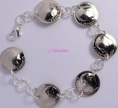 1976 Dime Charm Bracelet 41st Birthday Anniversary Gift Silver Usa Coin Jewlery! - $29.99