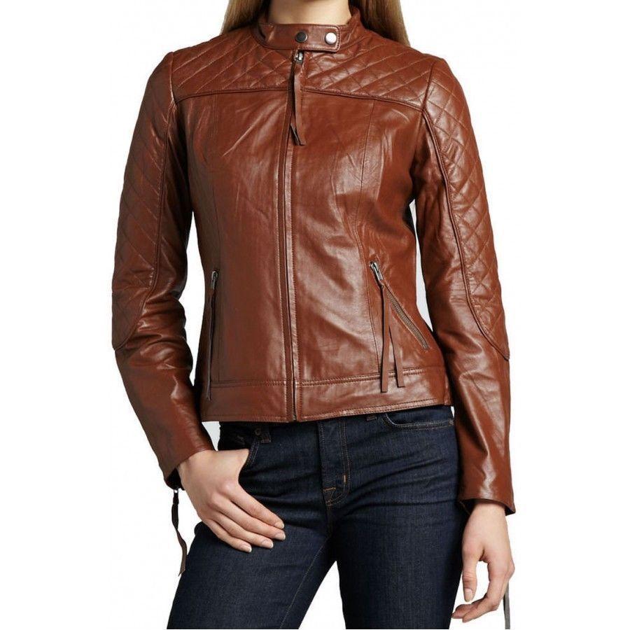 Winter Women Leather Motorcycle Women Genuine Leather Jacket Biker Jacket HL-192