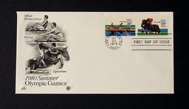 NRMT FDC 1980 SUMMER OLYMPICS 2 15 CENT STAMPS EQUESTRIAN & ROWING COLLE... - $3.99