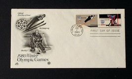 NRMT FDC 1980 WINTER OLYMPICS 2 15 CENT STAMPS USA ICE HOCKEY & SKI JUMPING - $3.99