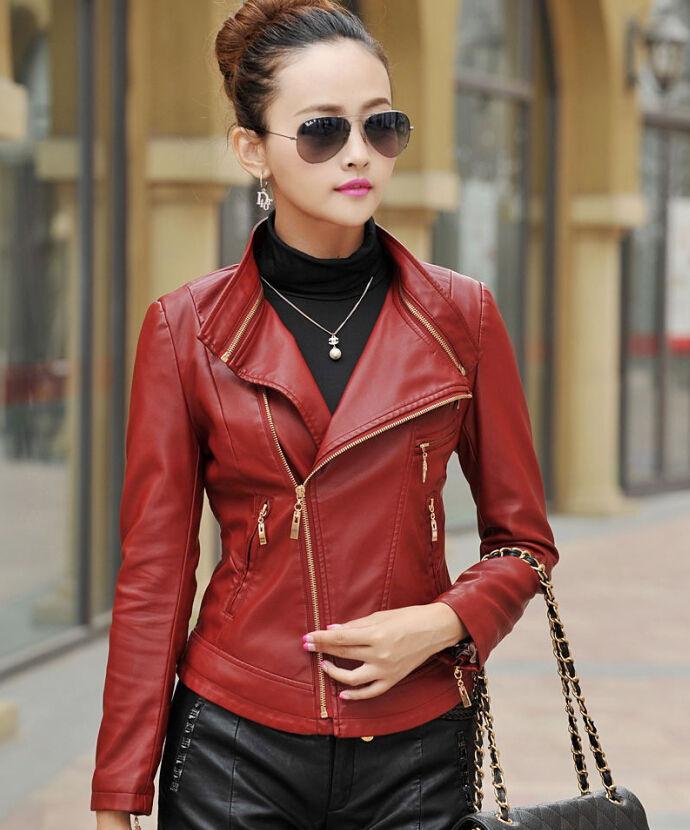 Winter Women Leather Motorcycle Women Genuine Leather Jacket Biker Jacket HL-200