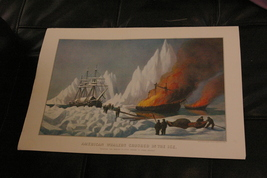 "Whalers Crushed In The Ice Currier & Ives 11"" X 16"" Calendar Print March... - $14.00"